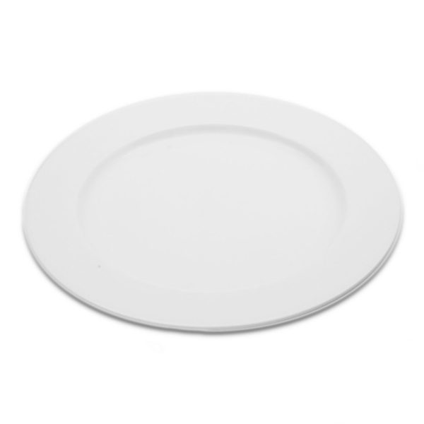 White round coupe dinner plate with wide rim for hire