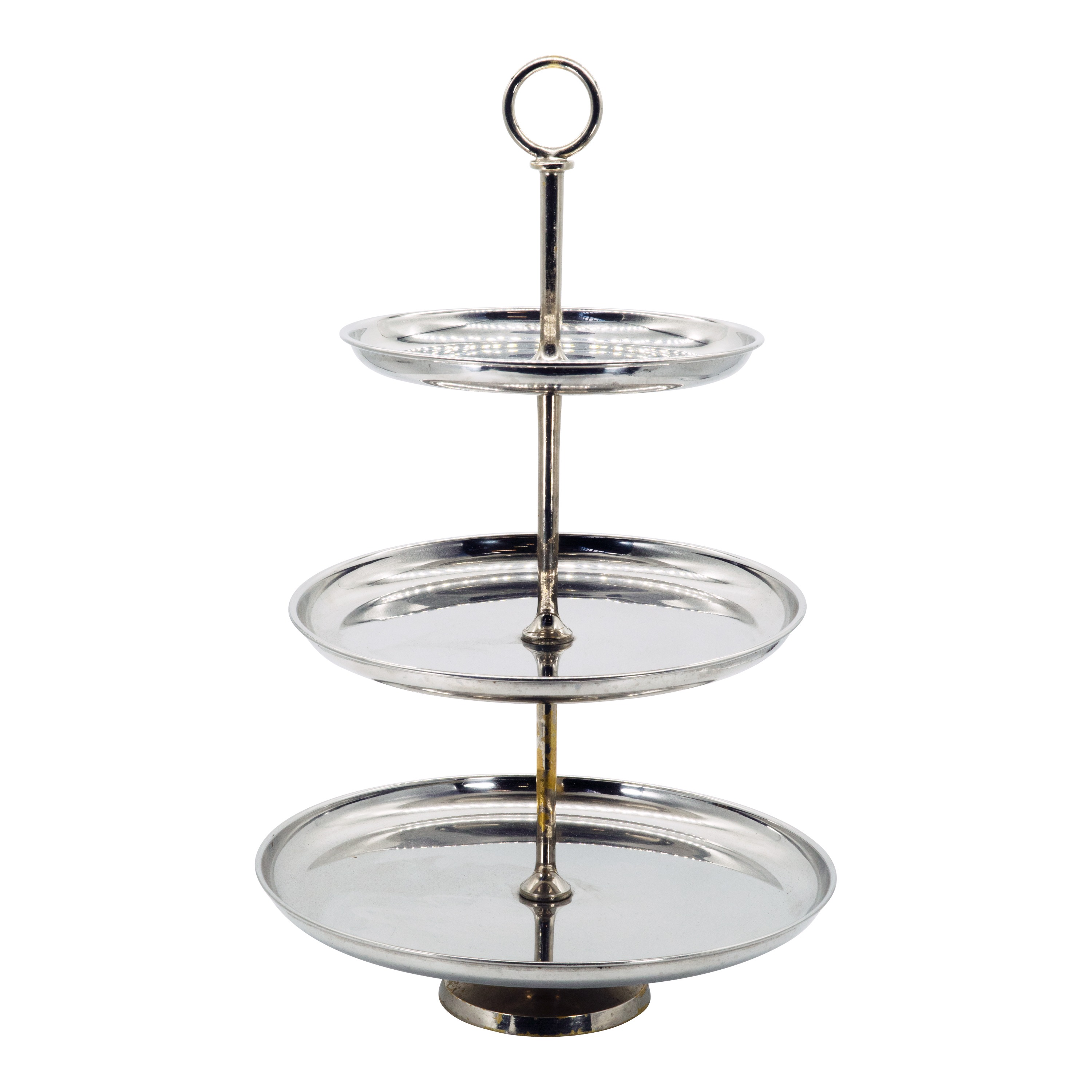 Medium Silver 3 Tier Cup Cake Stand