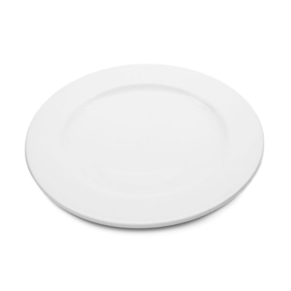 white porcelain coupe style round side plate 17.5 cm diameter with wide rim for hire