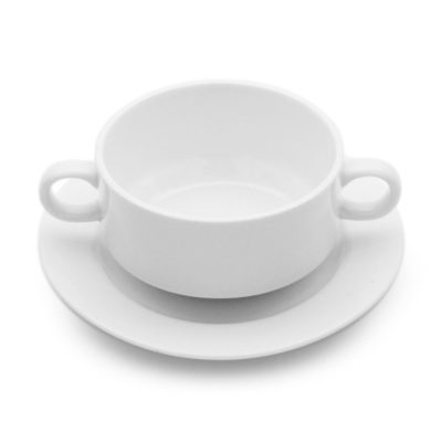 white porcelain double handle coupe style soup cup and saucer set for hire