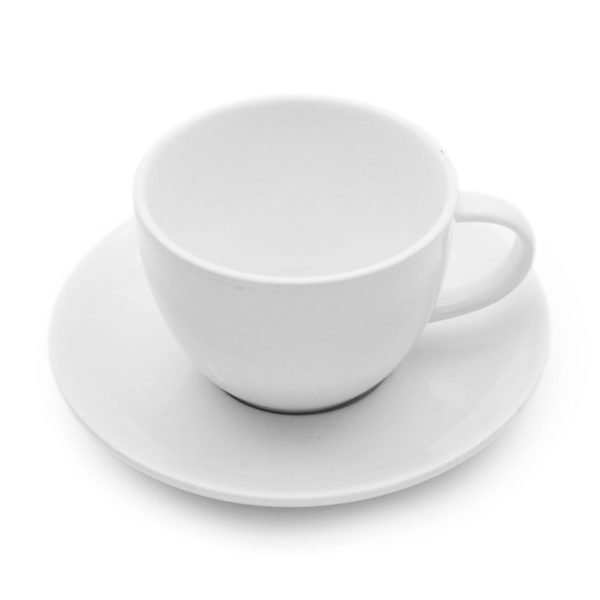 white coupe style tea cup and matching saucer set for hire