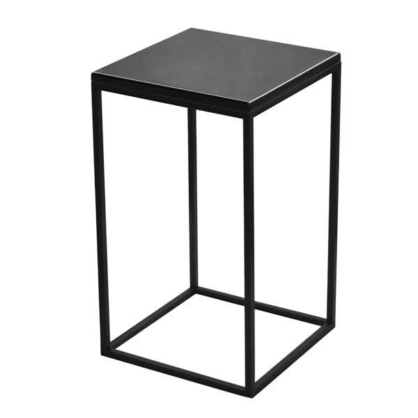 Square black steel cocktail table flush top