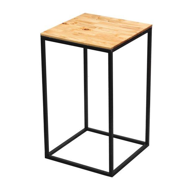 Natural wooden black steel cocktail table flush top