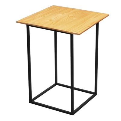 Natural wooden black steel cocktail table overhang top