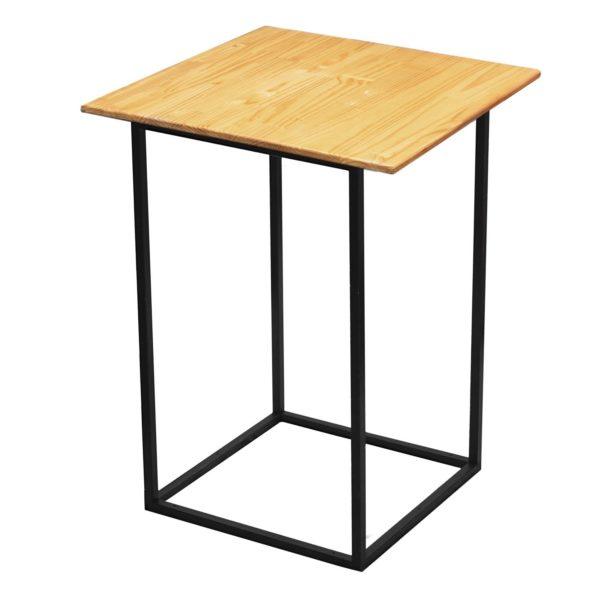 Natural wooden black steel cocktail table overhang top