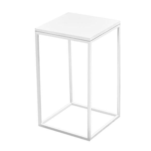 White steel cocktail table white flush top