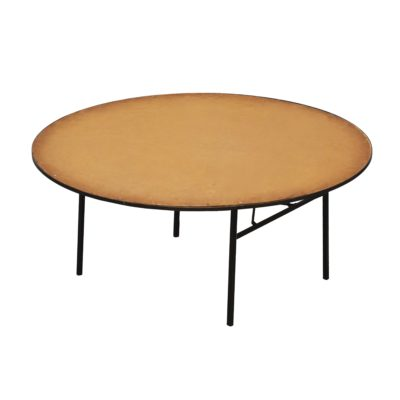 Round table with natural wood counter-top