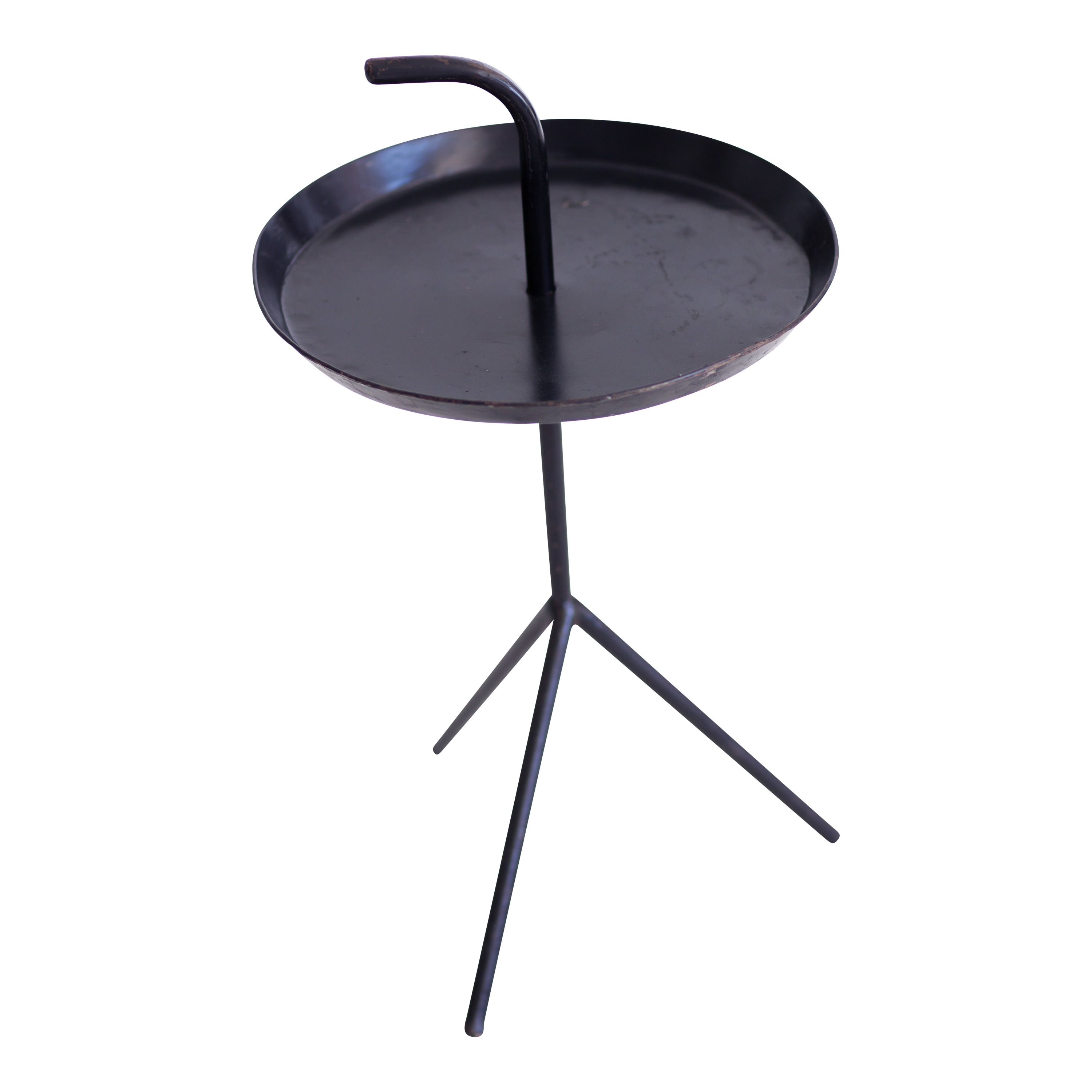 Black Round Side Table With Black Leg Ehire