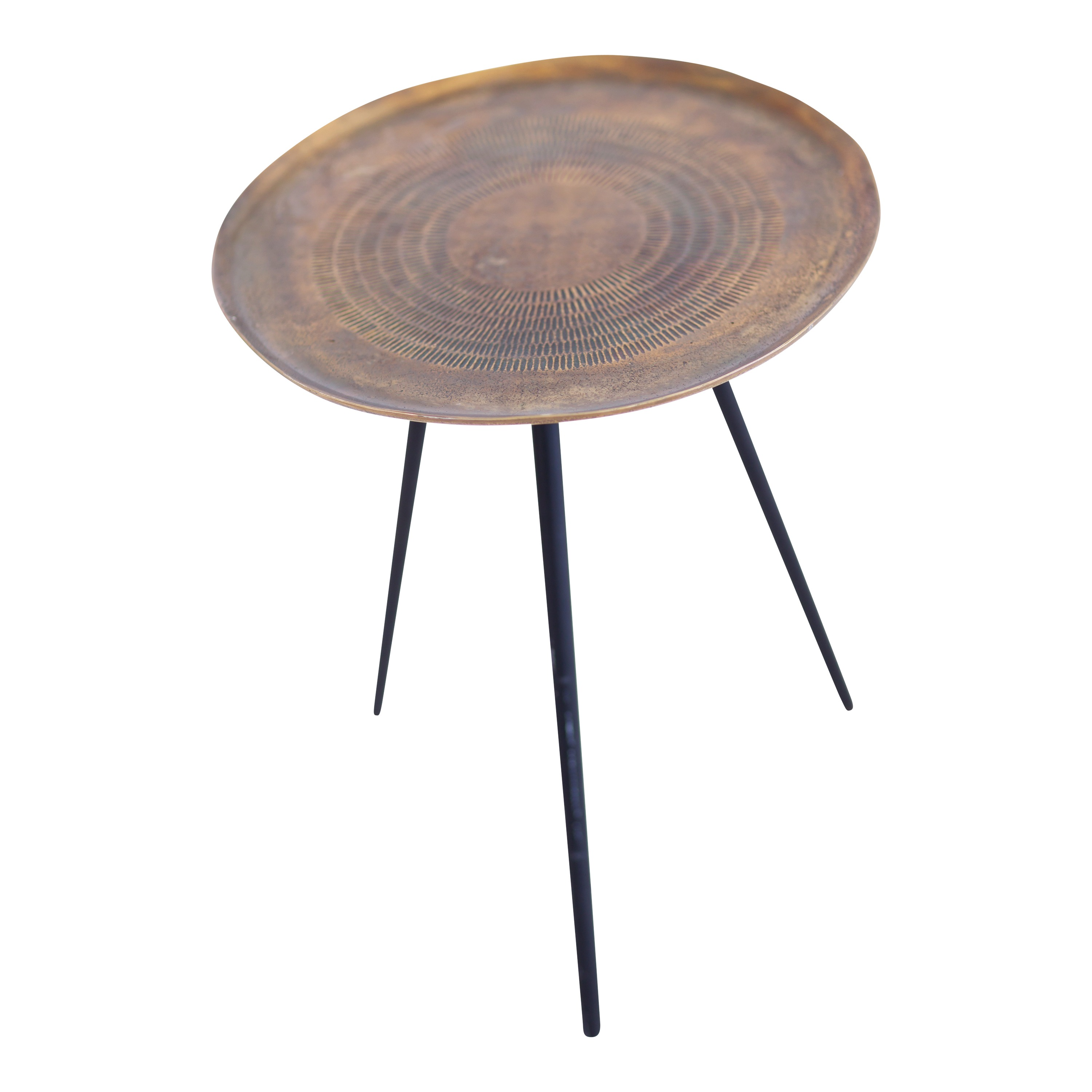 Bronze Round Side Table With Black Leg Ehire
