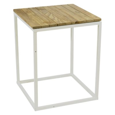 Natural wooden white steel cocktail table flush top