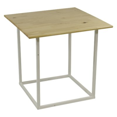Natural wooden white steel cocktail table overhang top