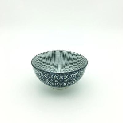 Black Flower Pattern Thai Bowl