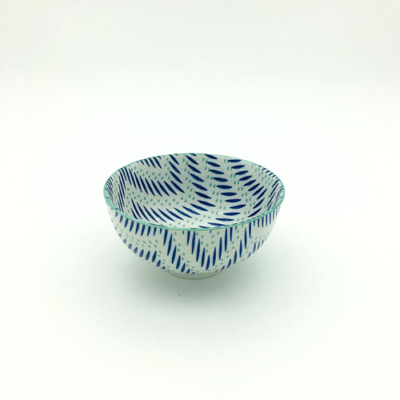 Blue and Turquoise Stripe Pattern Thai Bowl