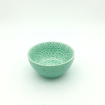 Mint Embossed Flower Thai Bowl