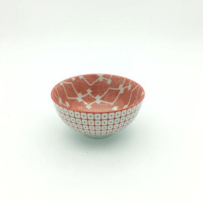 Orange Square Pattern Thai Bowl