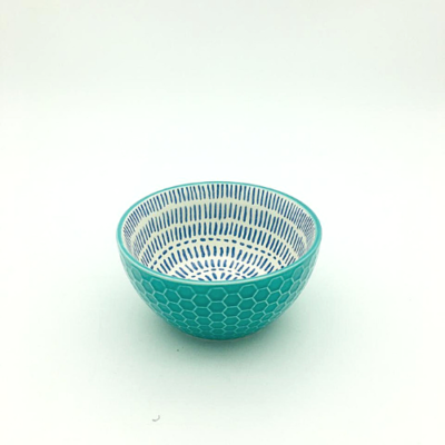 Turquoise Embossed Honeycomb Thai Bowl