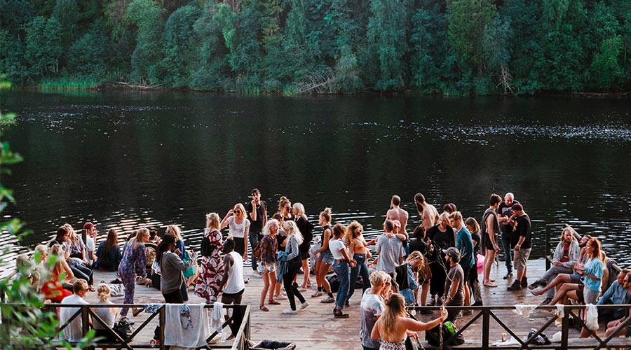 outdoor event with a group by the lake