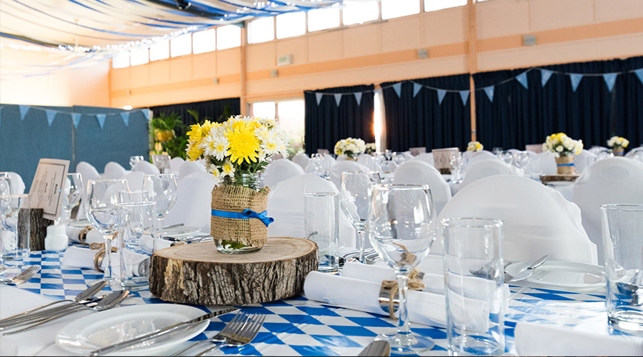 themed event with blue decor and furniture