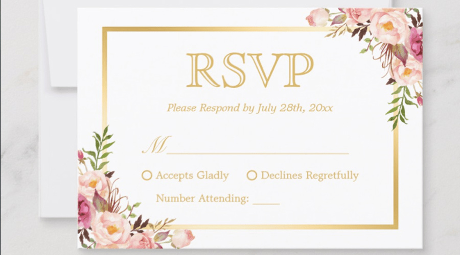 rsvp card for wedding invitation