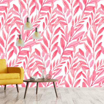 Pink Leaves Instagram Wall With Furniture