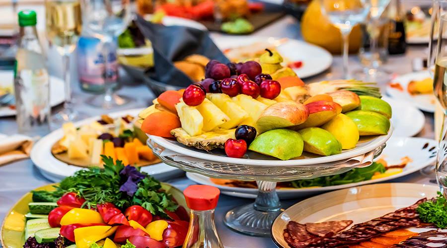 Fruit plate on festive table