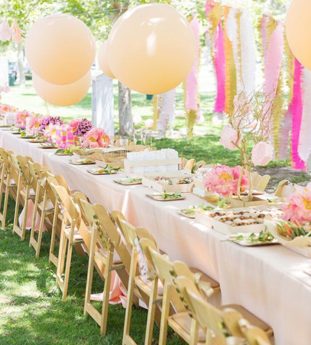 baby shower with colourful table setting