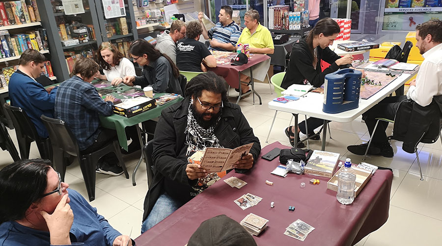 fanatic board games customers playing table top game