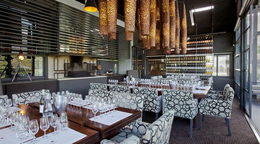 steenberg wine farm tasting room and table setting