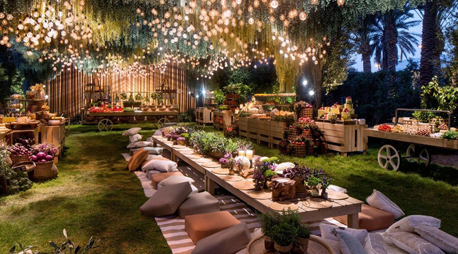 garden party celebration with decor lights and furniture