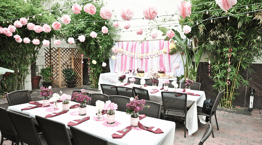 wedding shower with modern table setting