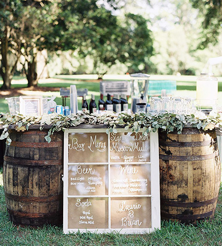 wine barrels with wine for private wine tasting festival